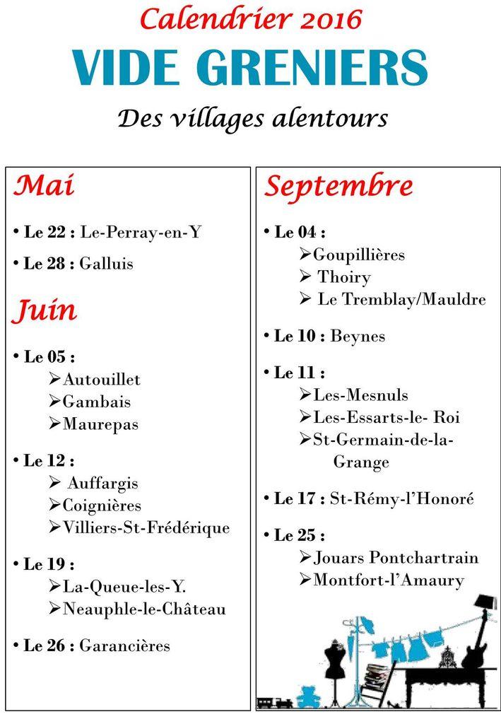 Affiche calendrier vide grenier